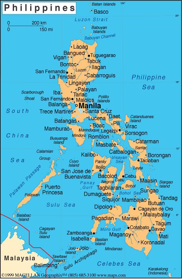 Carte des villes Philippines, Carte des villes de Philippines