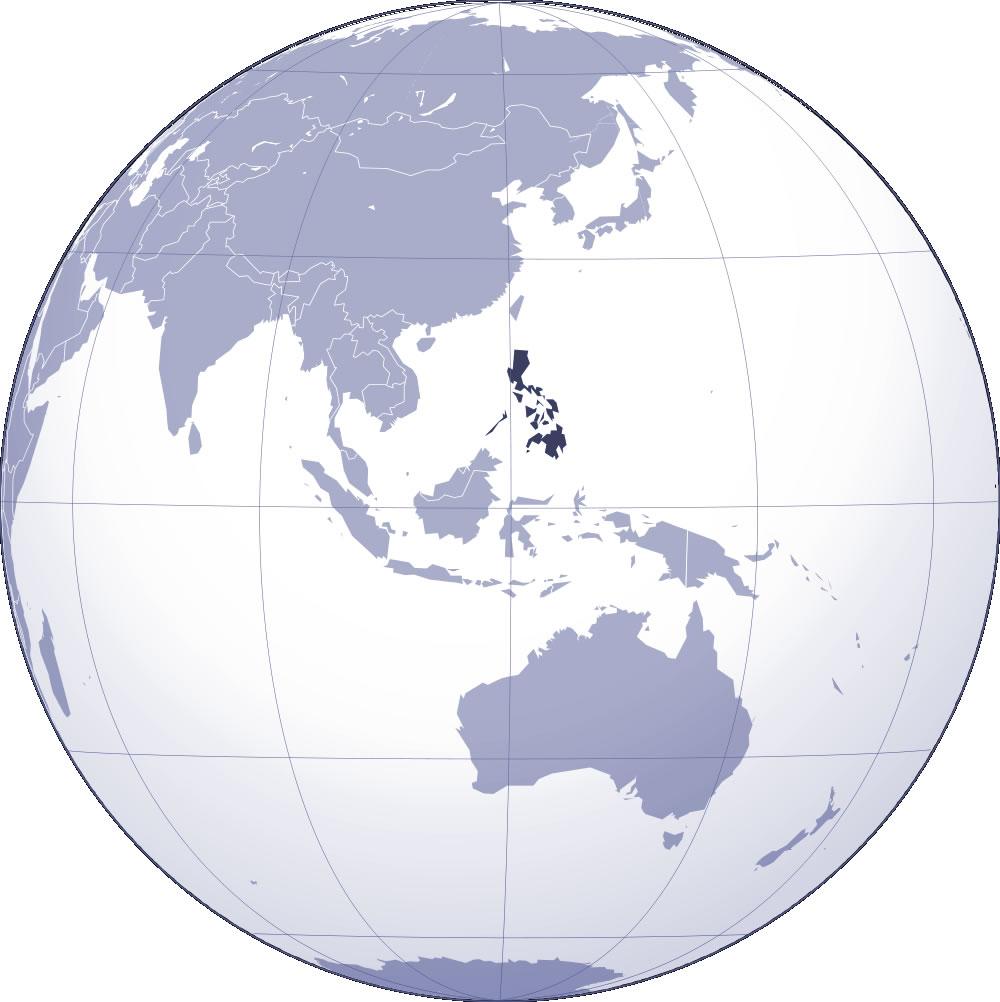 Localiser Philippines sur carte du monde, Localiser pays de