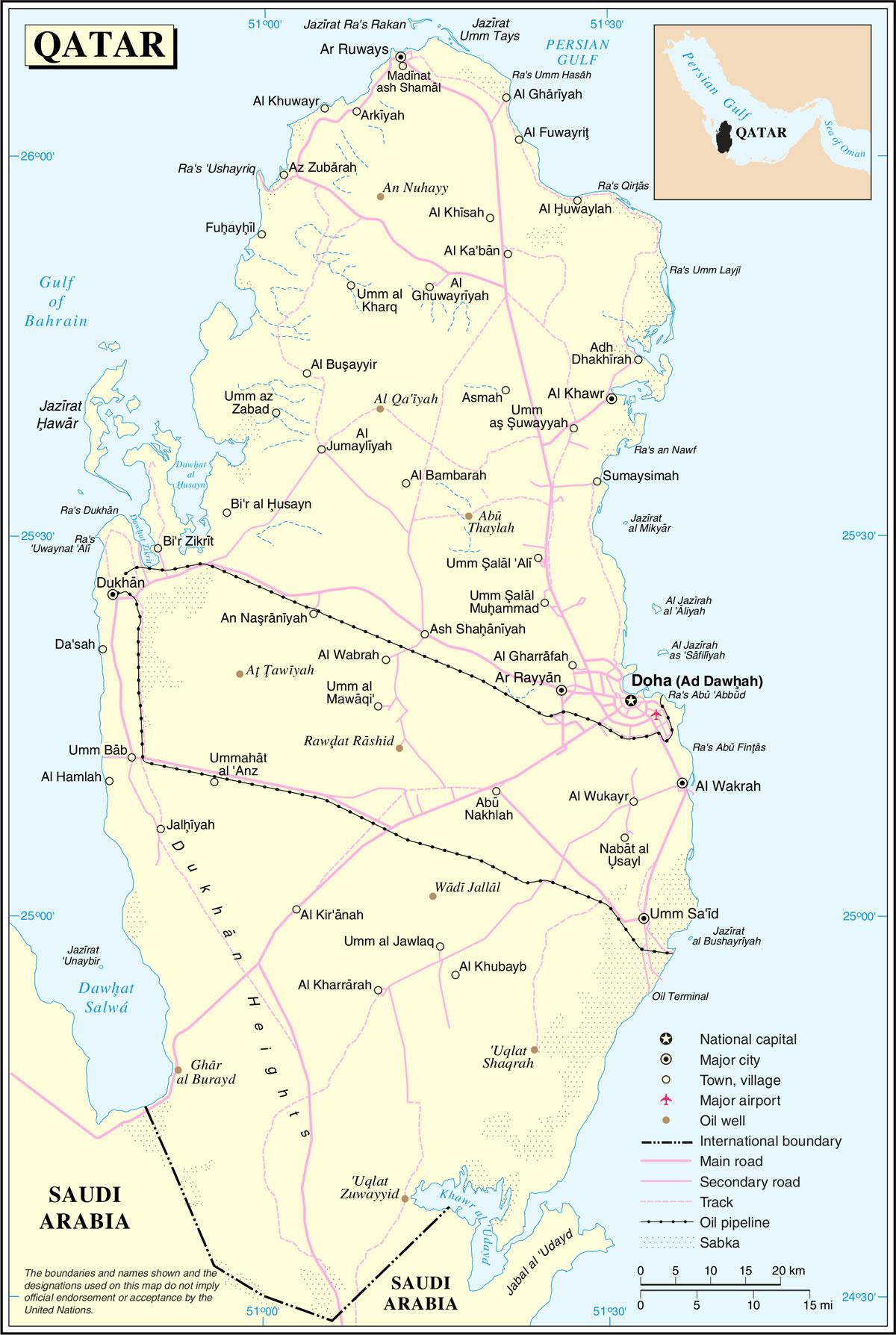 Carte Du Monde Qatar.Grande Carte Qatar Grande Carte Du Qatar