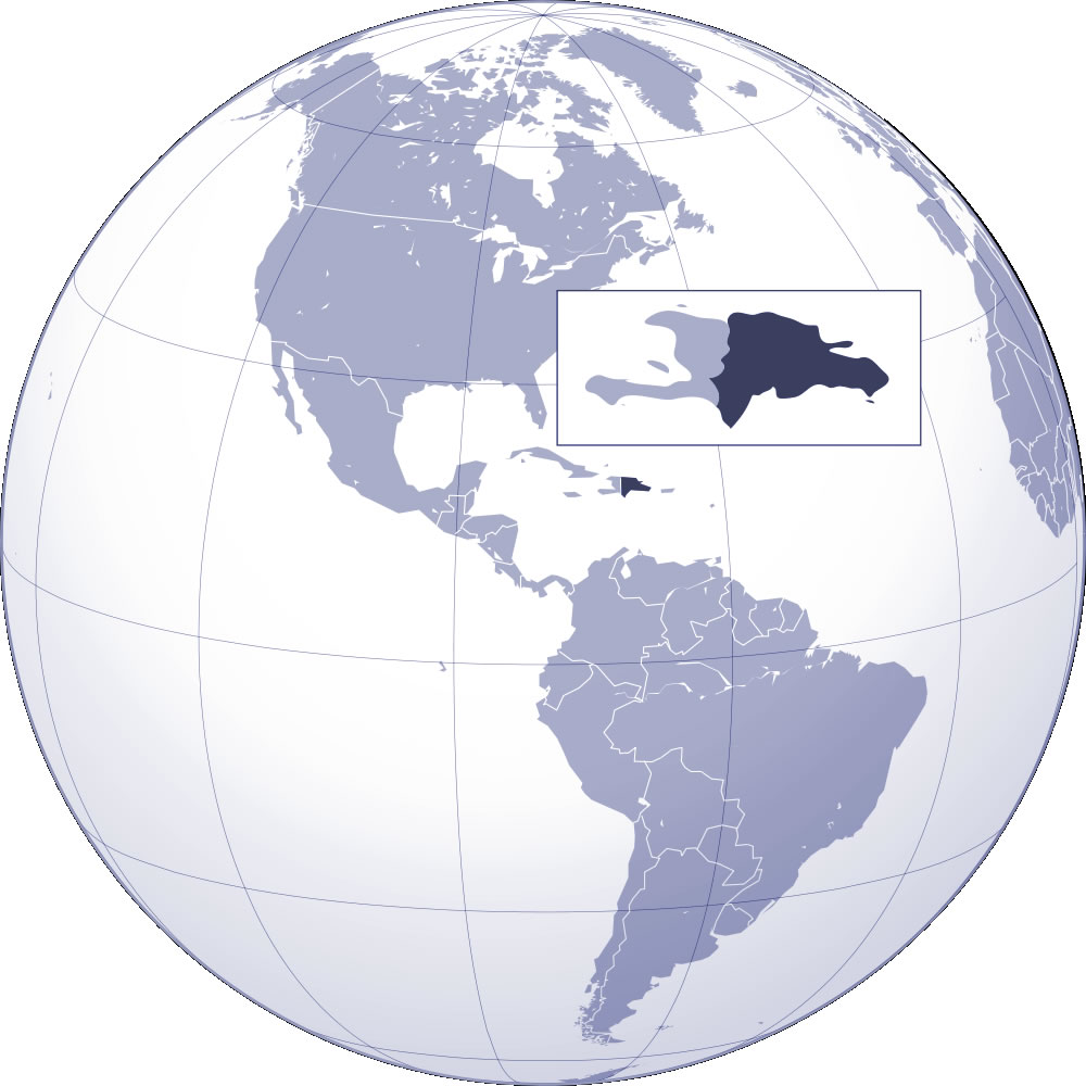 Localiser République dominicaine sur carte du monde, Localiser