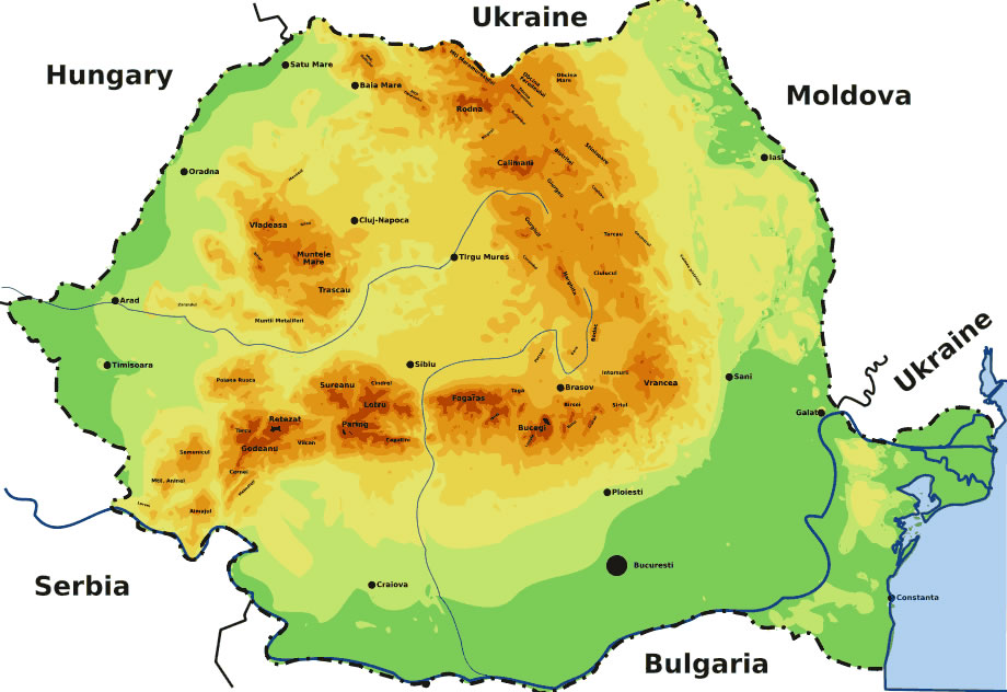 Carte géographique Roumanie, Carte géographique de Roumanie