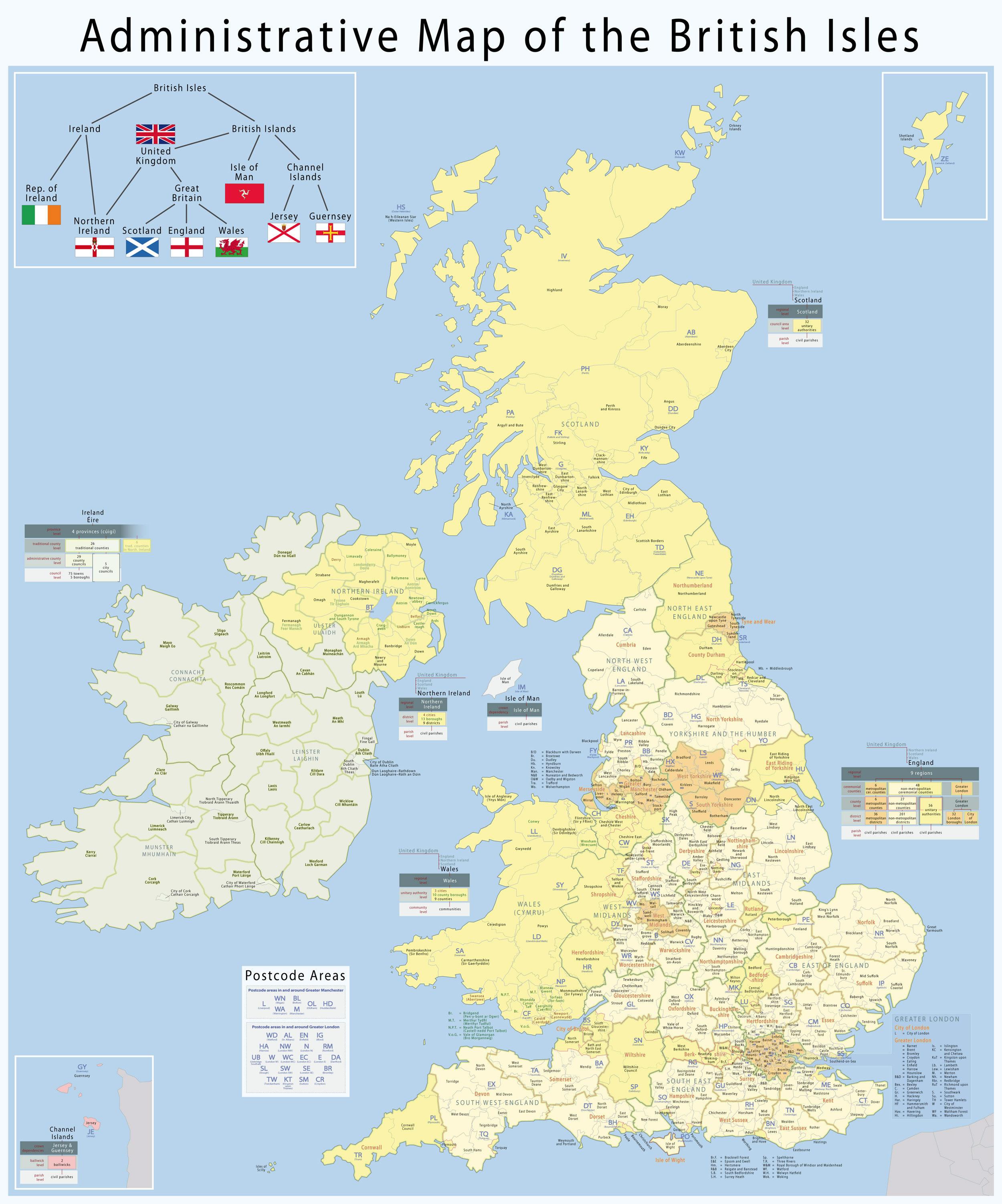 Carte départements Royaume Uni, Carte des départements du Royaume Uni