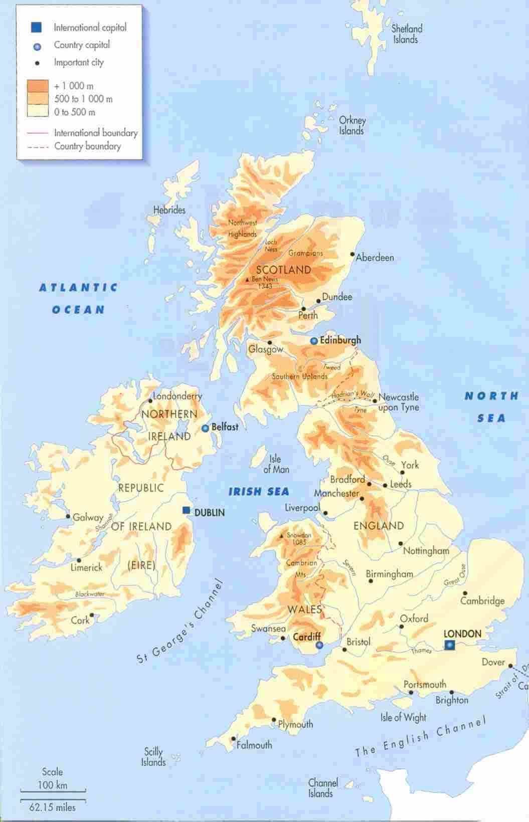 Carte géographique Royaume Uni, Carte géographique du Royaume Uni