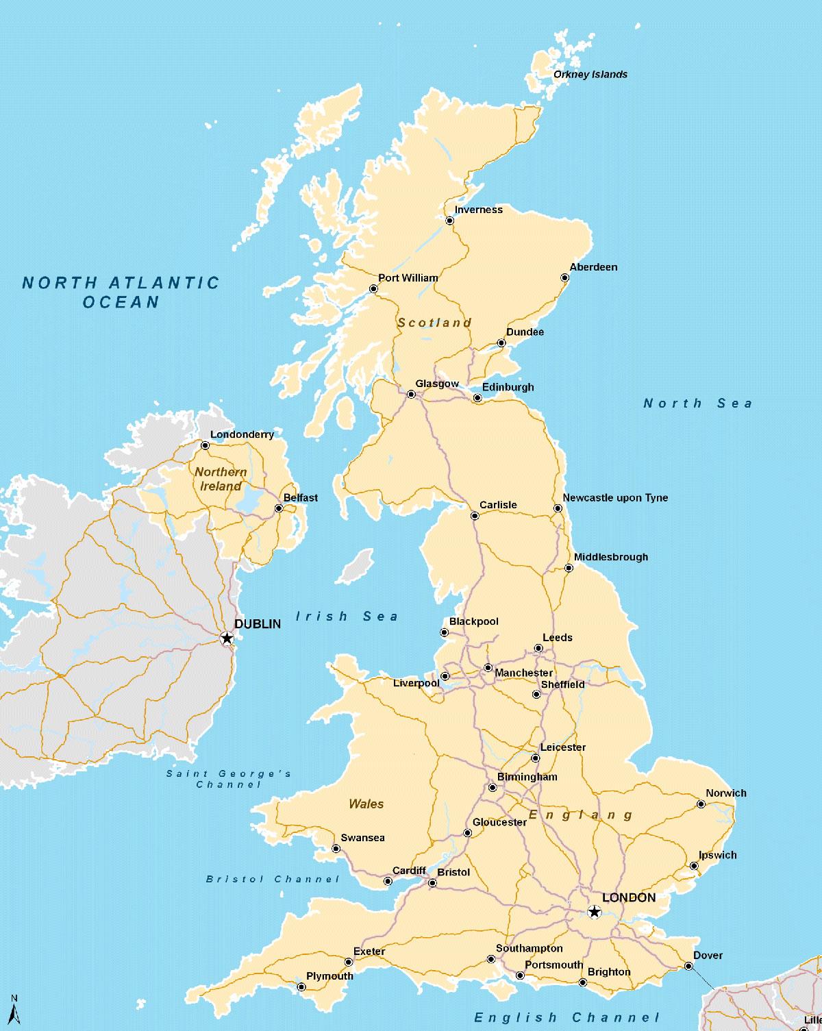 Carte routière Royaume Uni, Carte routière du Royaume Uni
