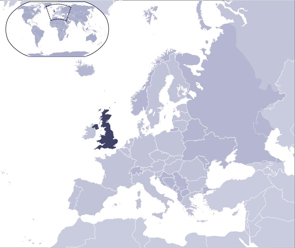 royaume uni sur la carte du monde