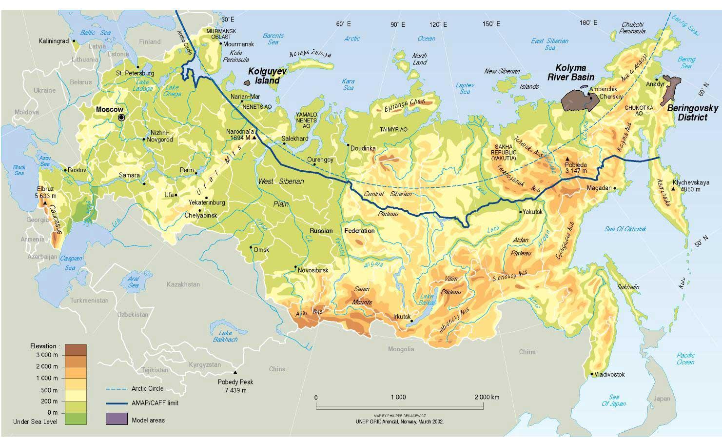 Carte géographique Russie, Carte géographique de la Russie