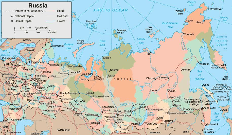 Carte routière Russie, Carte routière de la Russie