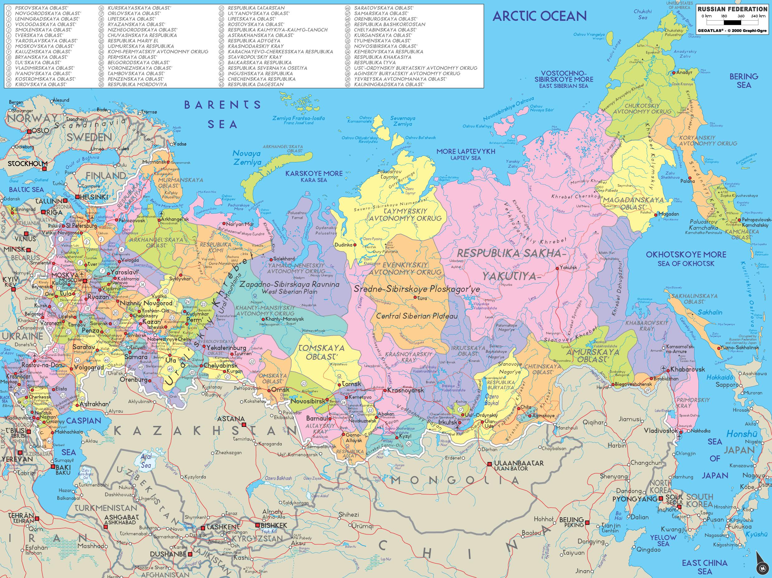 carte europe et russie