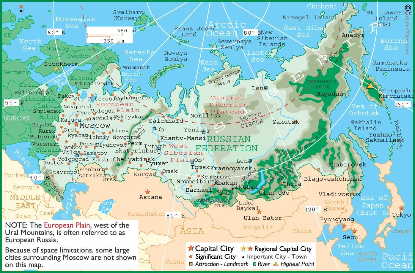 Carte Russie Villes