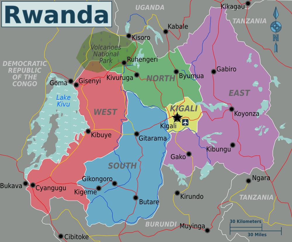 Carte régions Rwanda, Carte des régions de Rwanda