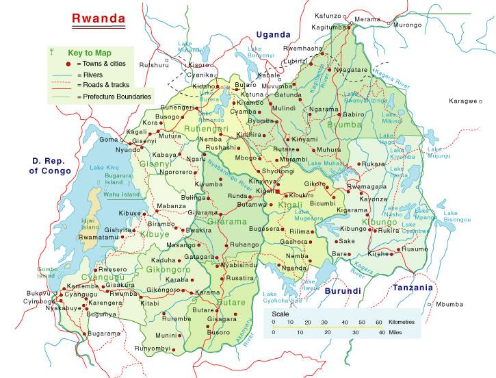 Carte routière Rwanda, Carte routière de Rwanda
