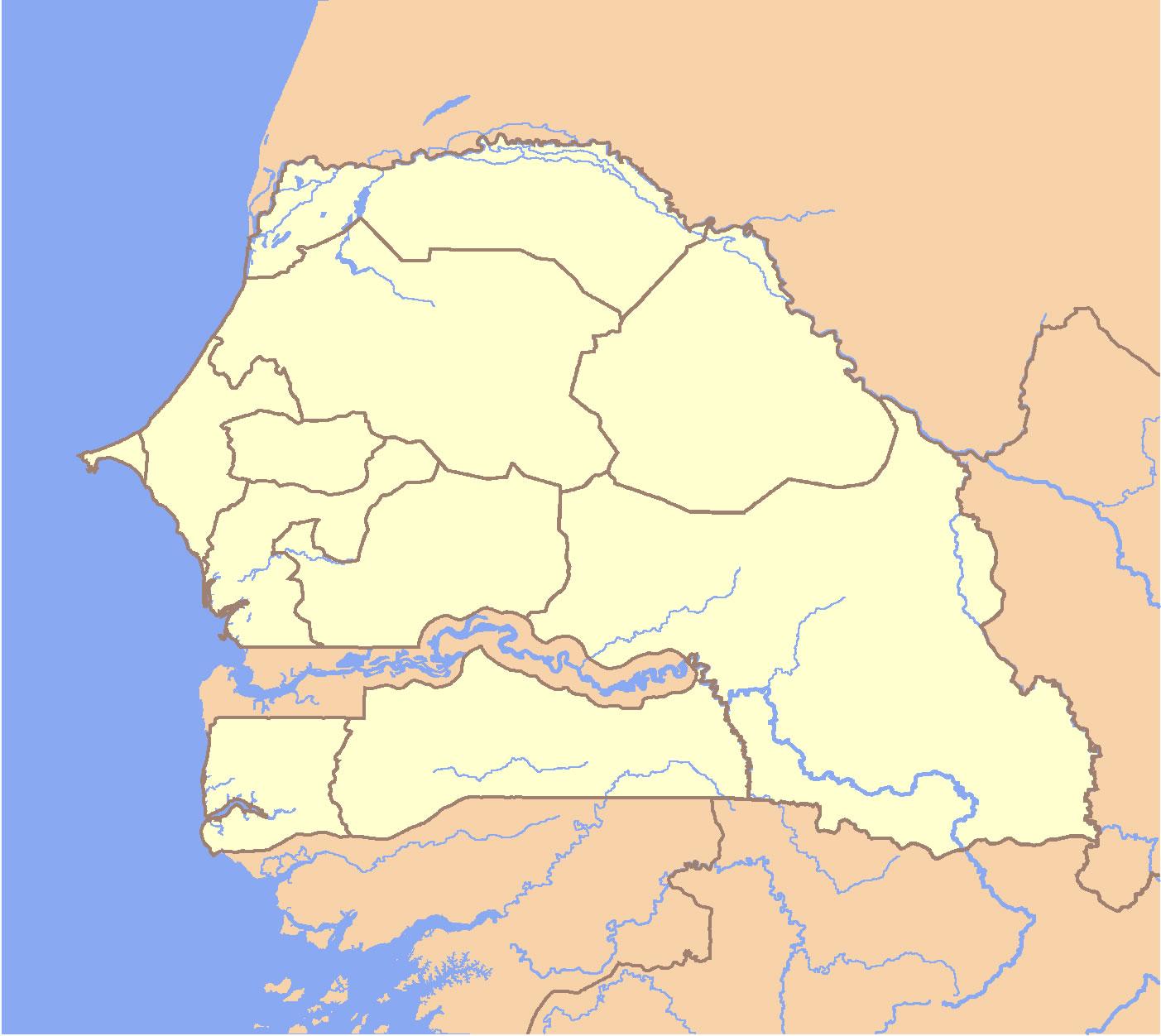 Carte Senegal Vierge.Carte Senegal Vierge Couleur Carte Vierge De Senegal En Couleur