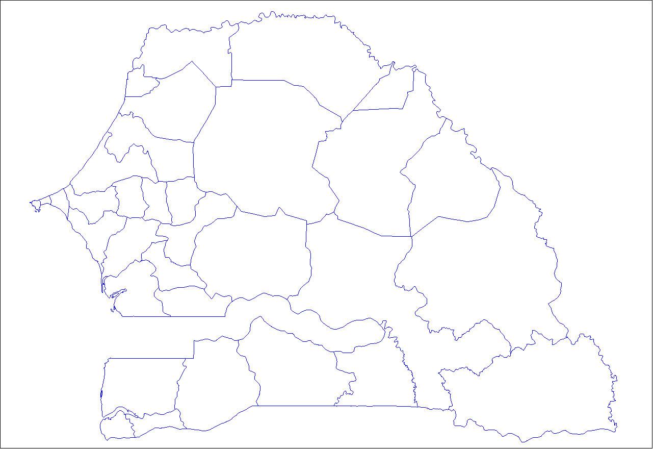 Carte Senegal Vierge.Carte Senegal Vierge Departements Carte Vierge Des