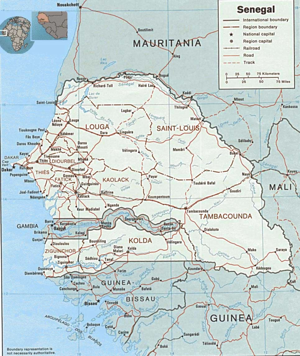 Carte Des Villes Senegal Carte Des Villes De Senegal