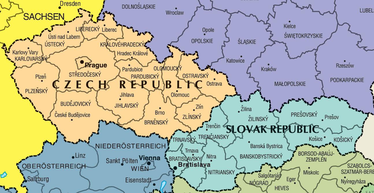 Carte frontières Slovaquie, Carte des frontières de Slovaquie