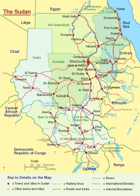 Carte frontières Soudan, Carte des frontières de Soudan