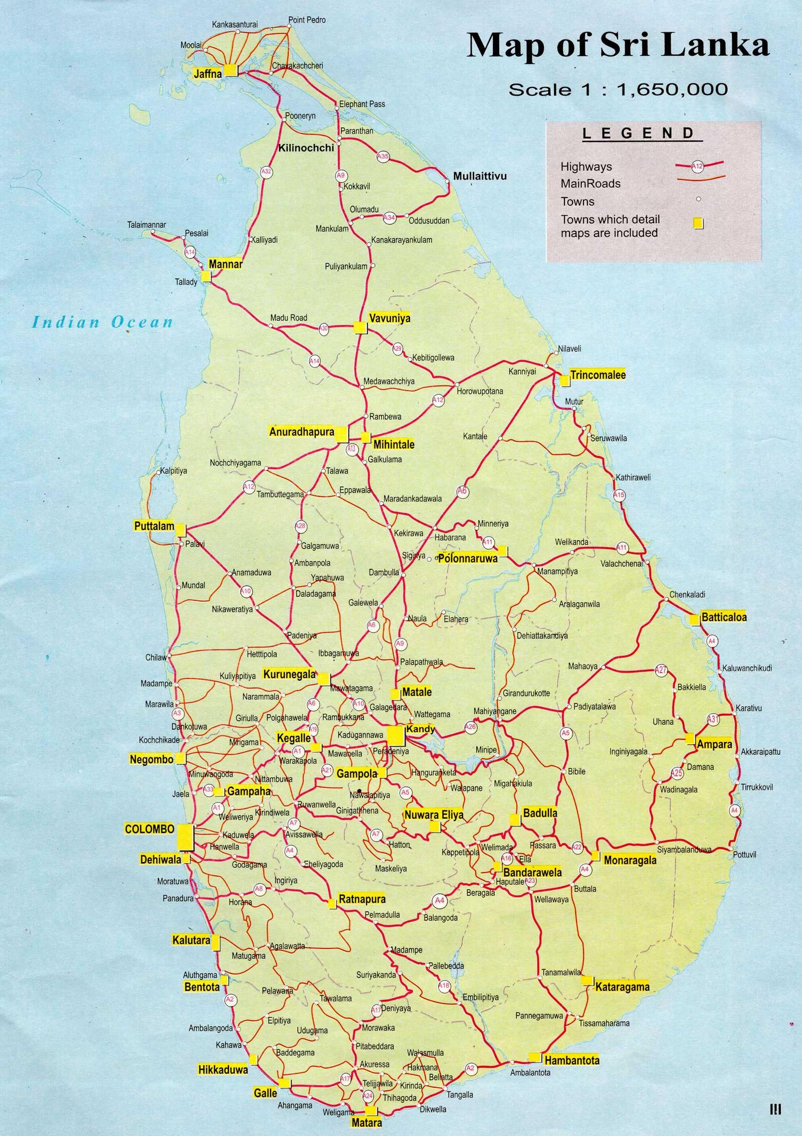 Carte Sri Lanka, Carte du pays Sri Lanka
