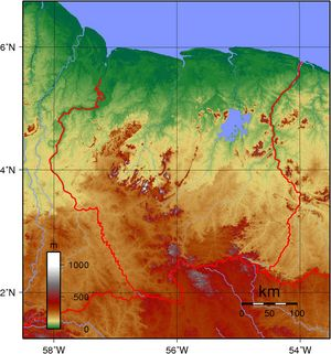 Carte topographique Suriname