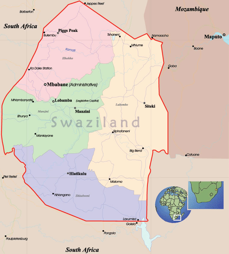 swaziland carte du monde