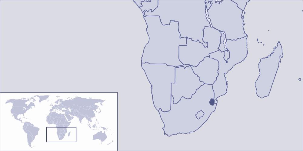 swaziland sur la carte du monde