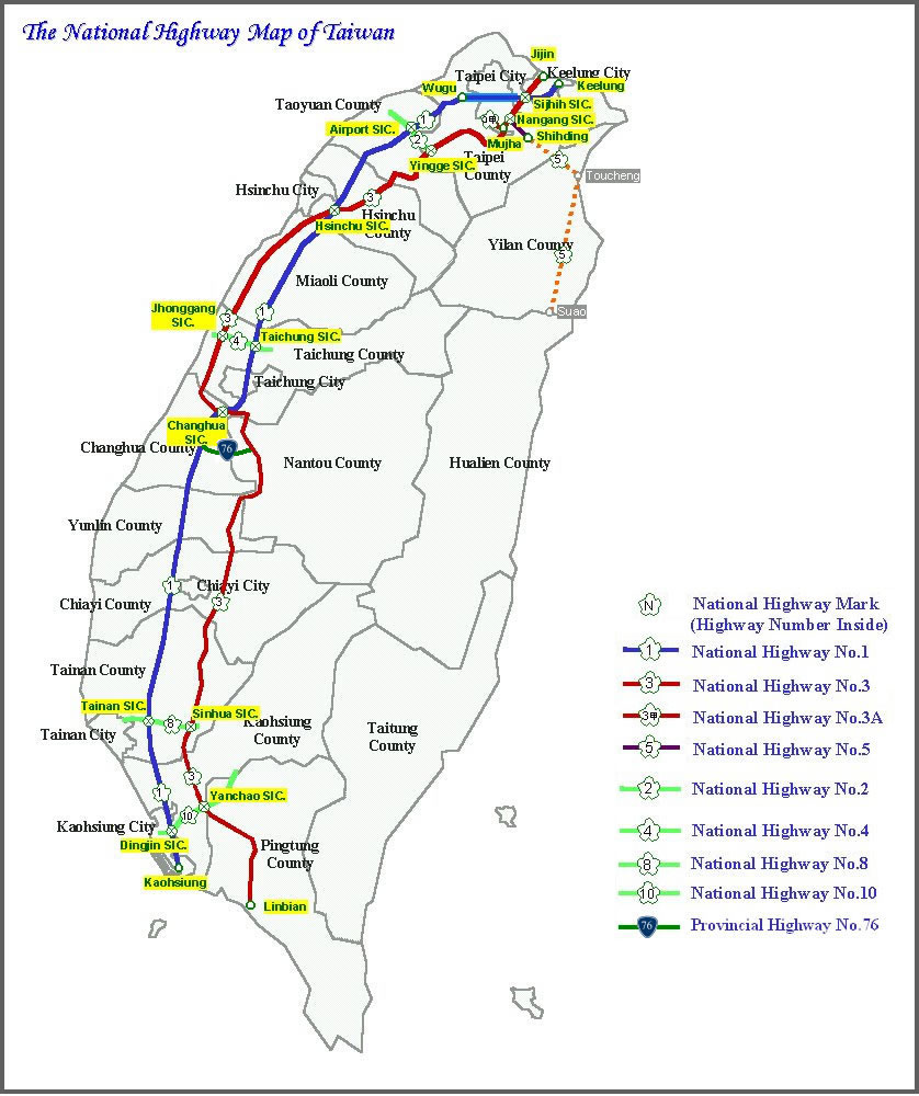 Carte routière Taïwan, Carte routière de Taïwan