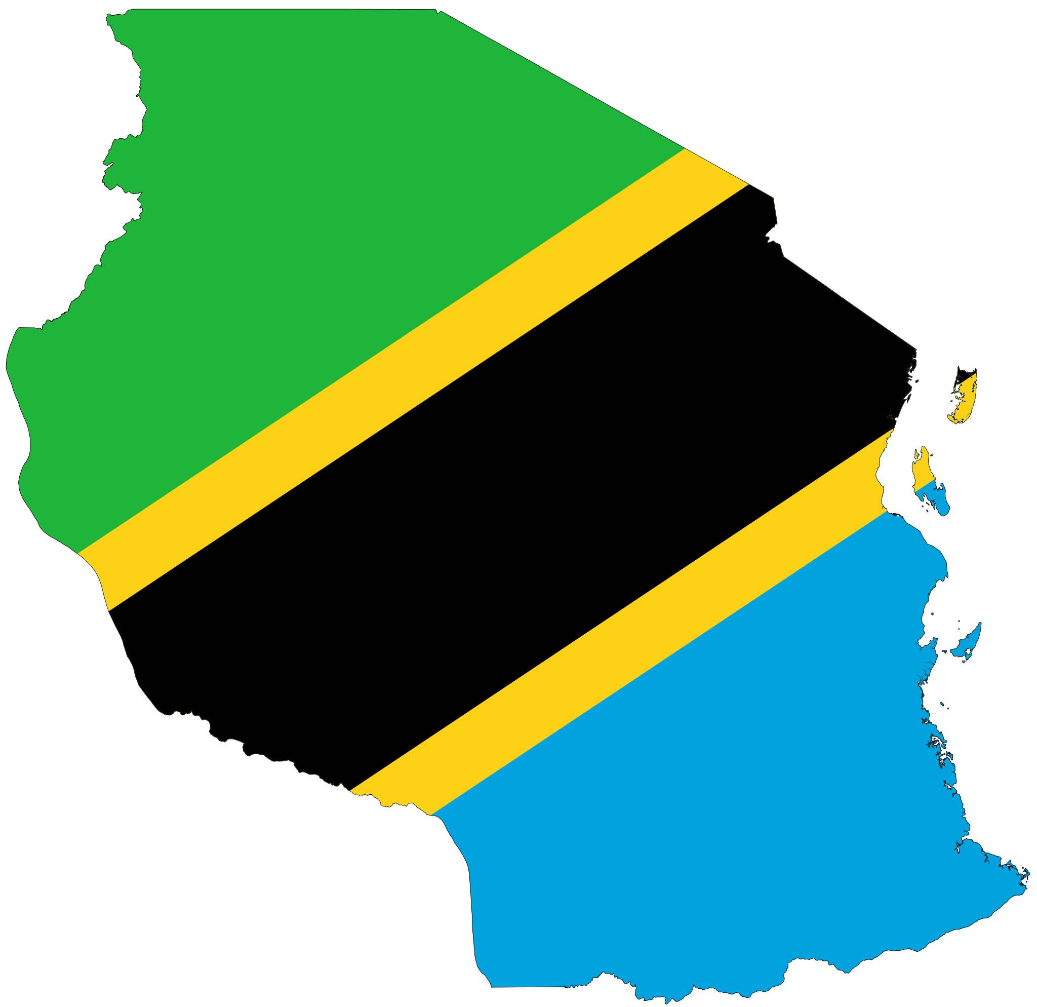 Carte drapeaux Tanzanie, Carte drapeaux de Tanzanie