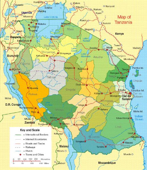 Carte des villes Tanzanie, Carte des villes de Tanzanie