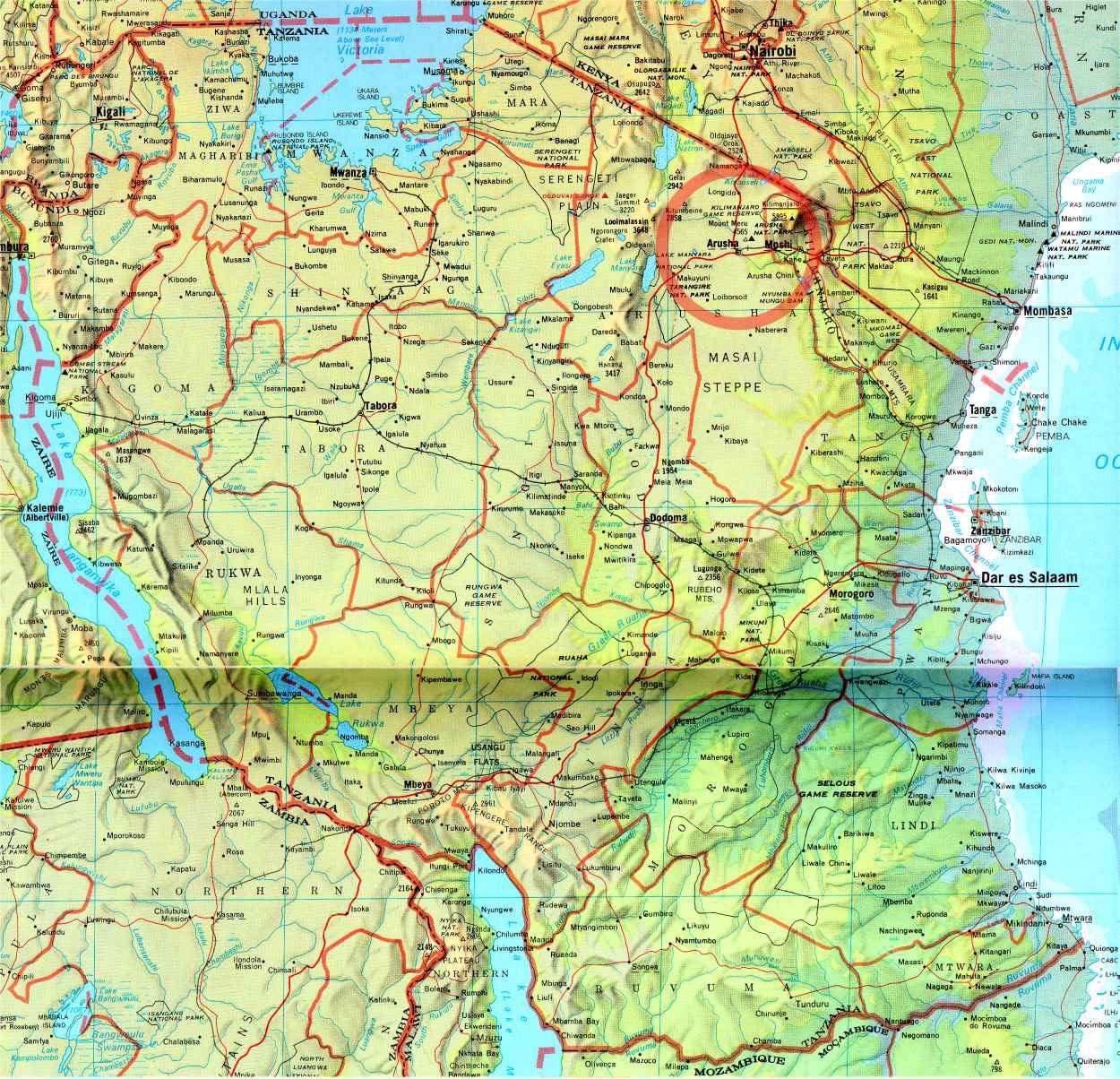Grande carte Tanzanie, Grande carte de Tanzanie