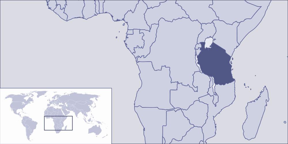 tanzanie sur la carte du monde