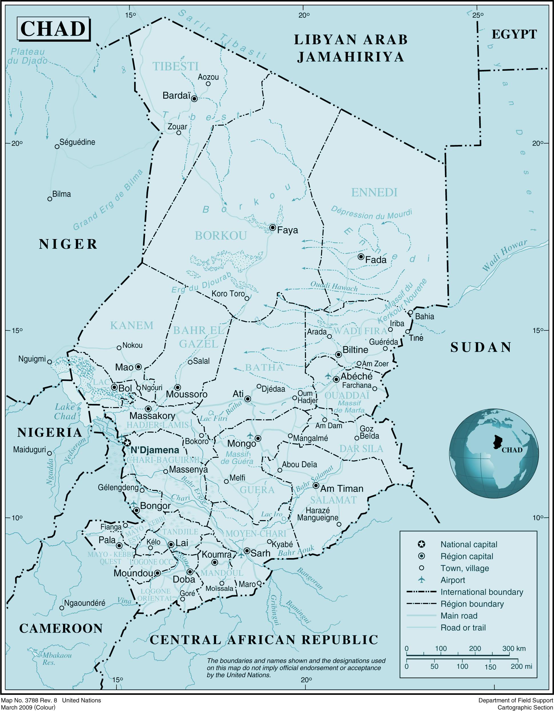 Carte Tchad, Carte du pays Tchad