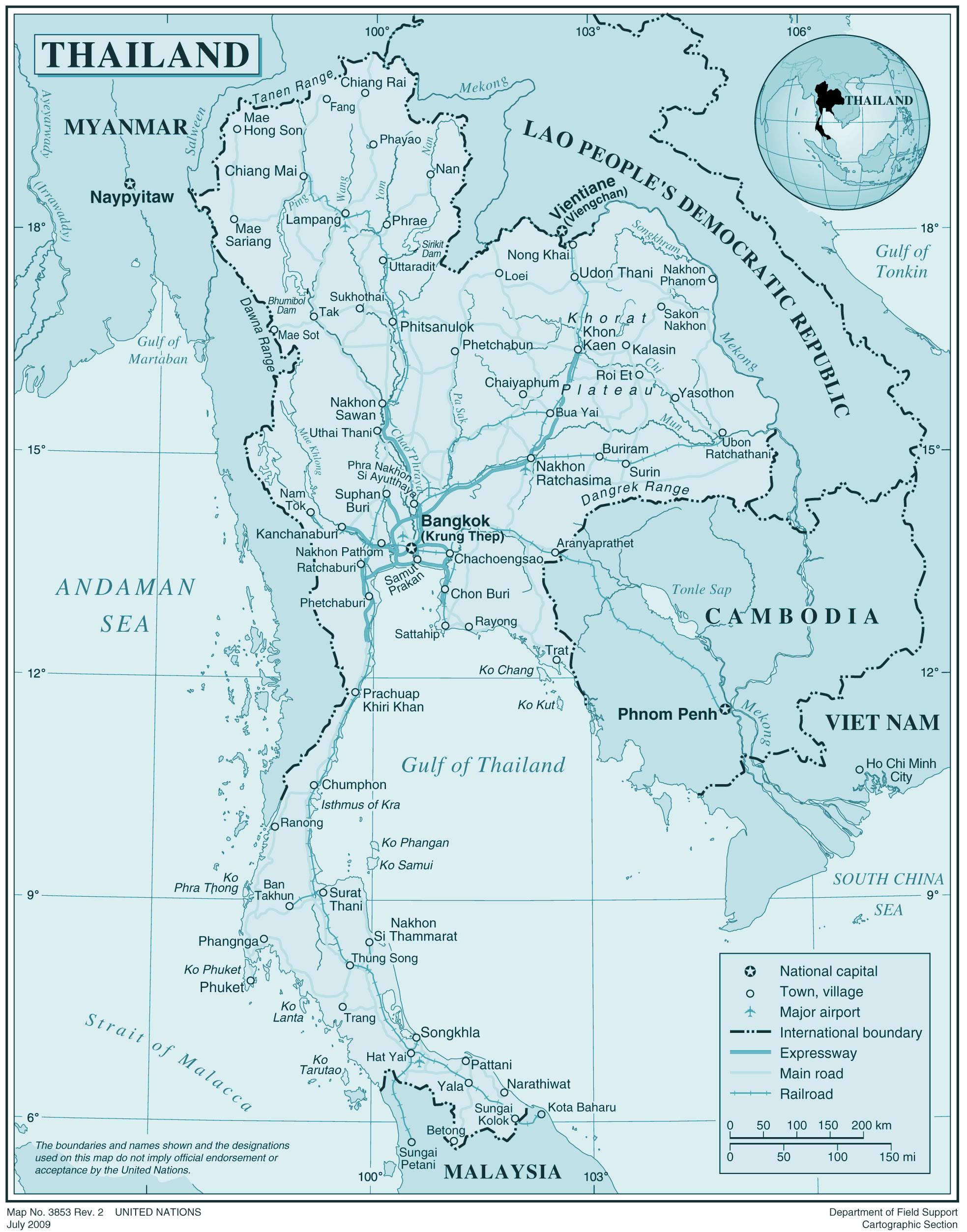 Carte Routiere Thailande A Imprimer.Carte Thailande Carte De La Thailande
