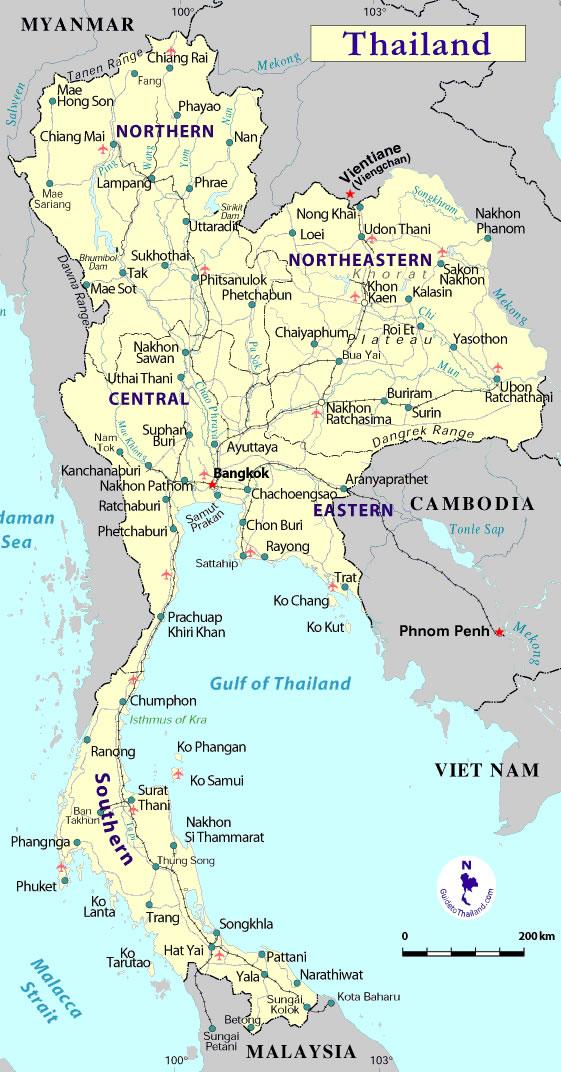 Thailande Carte Geographique Monde.Grande Carte Thailande Grande Carte De Thailande