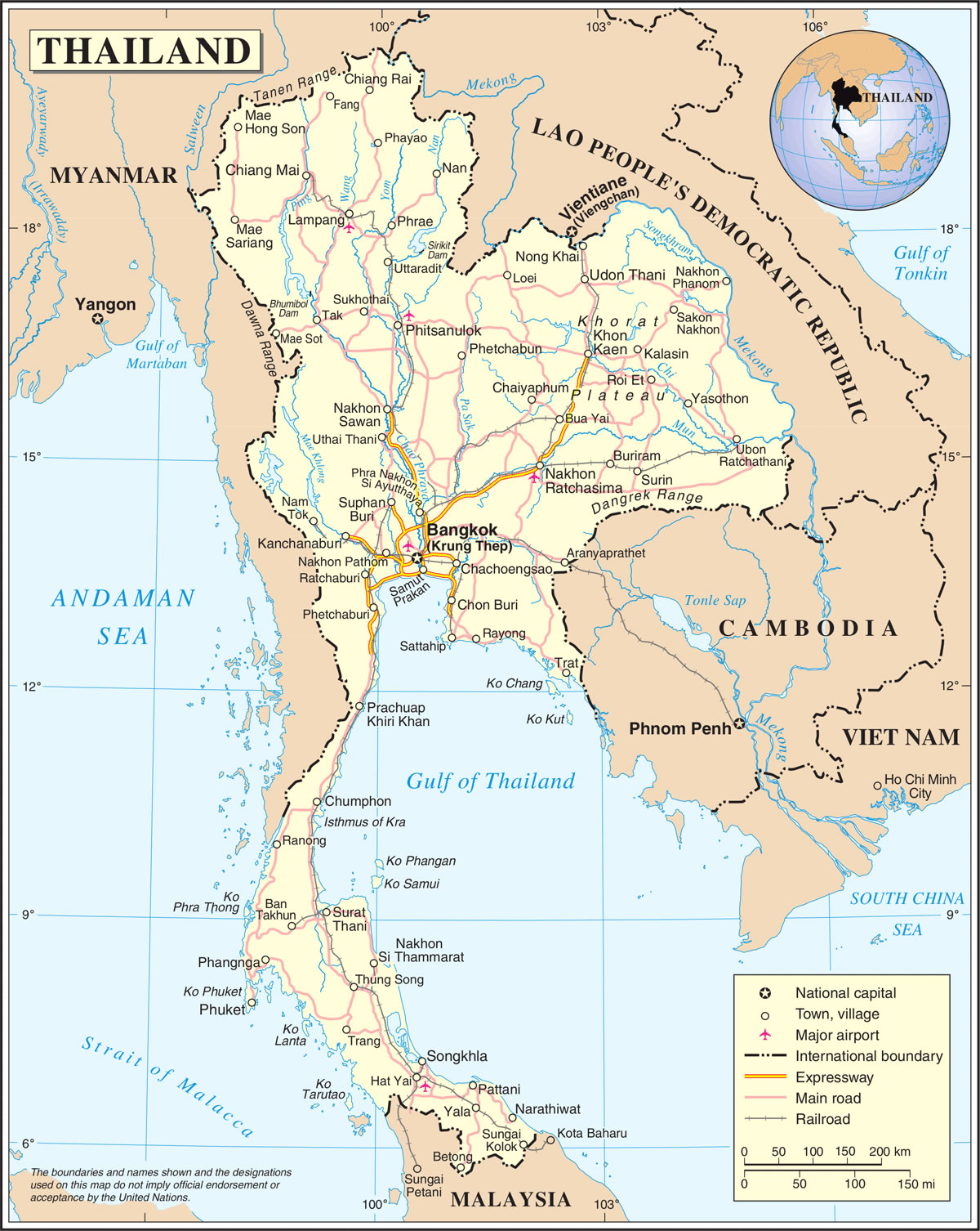 thailande carte du monde - Photo