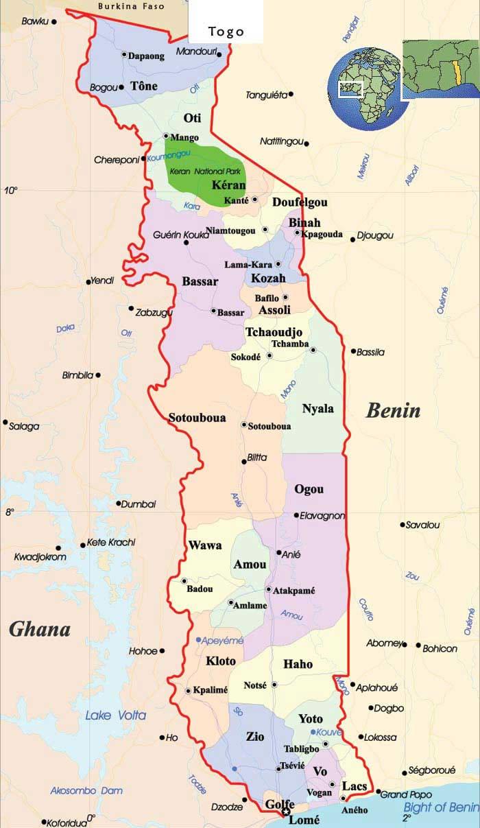 Carte régions Togo, Carte des régions de Togo
