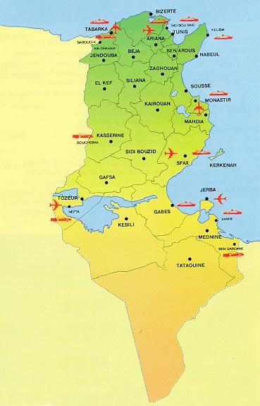 Carte aéroports Tunisie, Carte des aéroports de la Tunisie