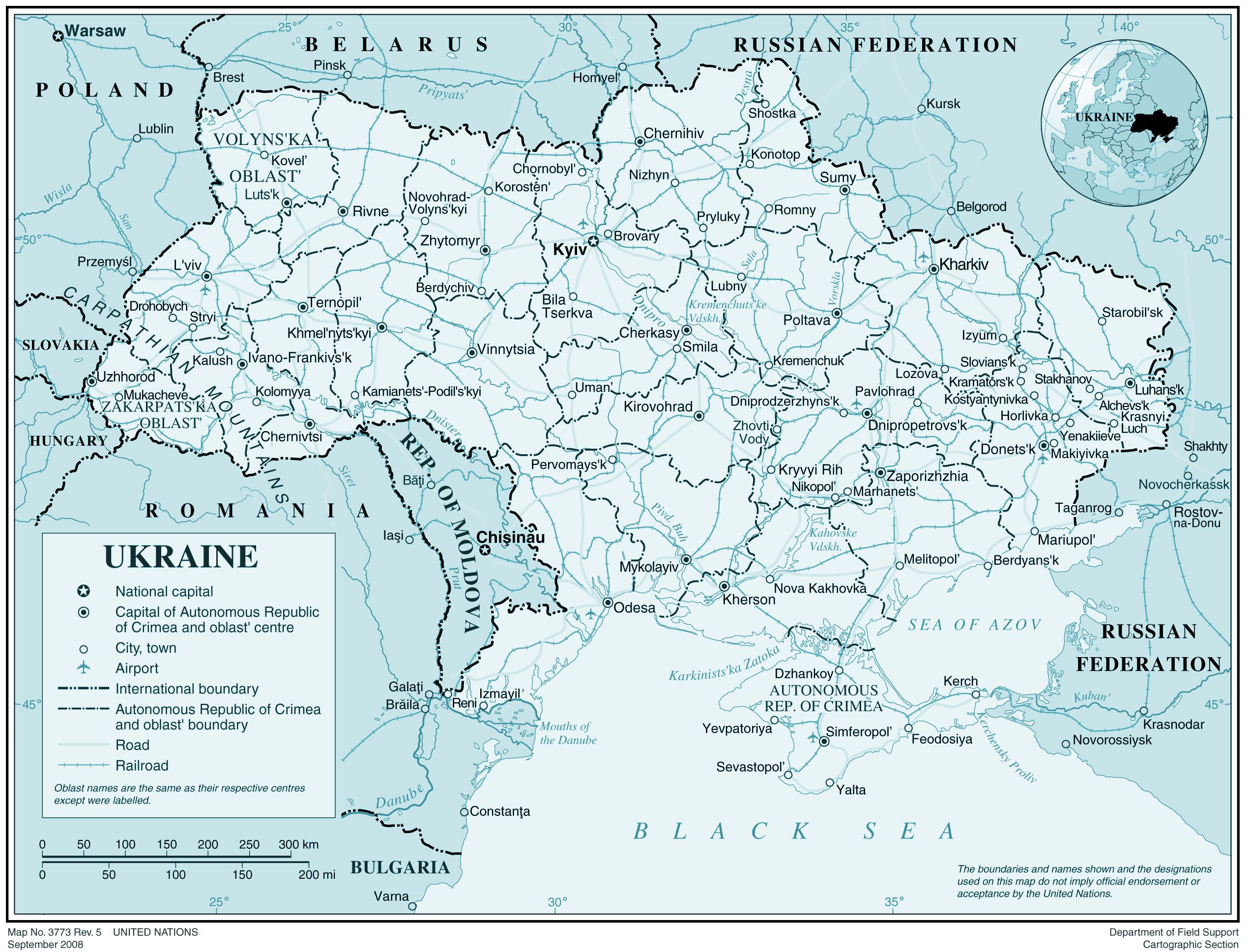 Ukraine Carte Du Monde.Carte Ukraine Carte De L Ukraine