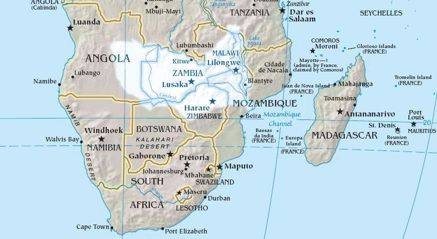 Carte Afrique Zambie.Carte Relief Zambie Carte Des Reliefs De Zambie